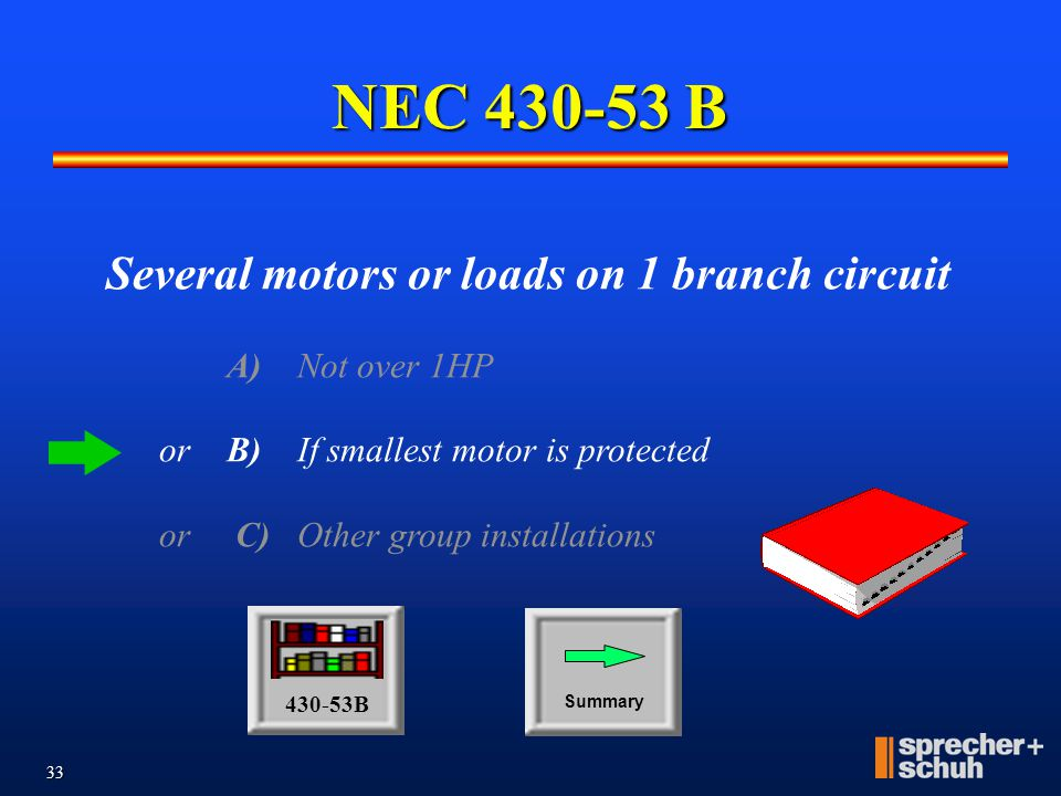 32 NEC 430-53 A M M M M Group BCPD 120V, 20A Max. 3-Phase V, 15A Max. Individual BCPDs NOT are NOT required Contactor BCPD rating may not be exceeded