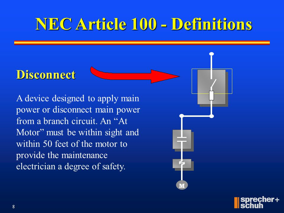 7 NEC Article 100 - Definitions M Branch Circuit The circuit conductors between the final short-circuit device (protecting the circuit) and the motor
