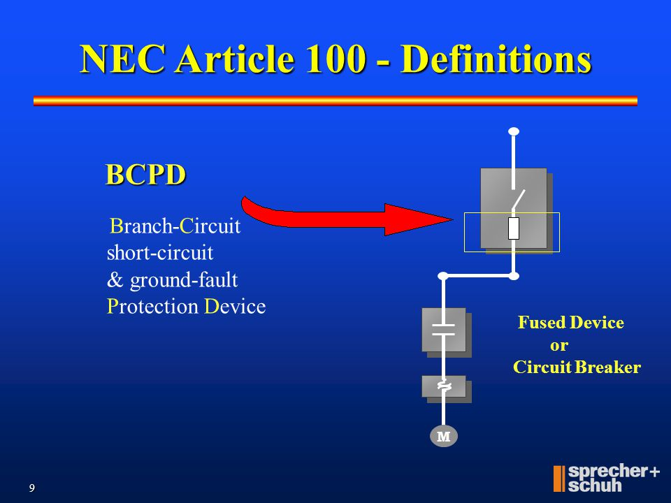 """8 M Disconnect A device designed to apply main power or disconnect main power from a branch circuit. An """"At Motor"""" must be within sight and within 50"""