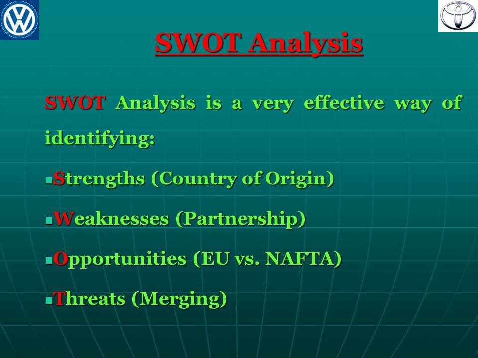 SWOT Analysis SWOT Analysis is a very effective way of identifying: Strengths (Country of Origin) Strengths (Country of Origin) Weaknesses (Partnershi