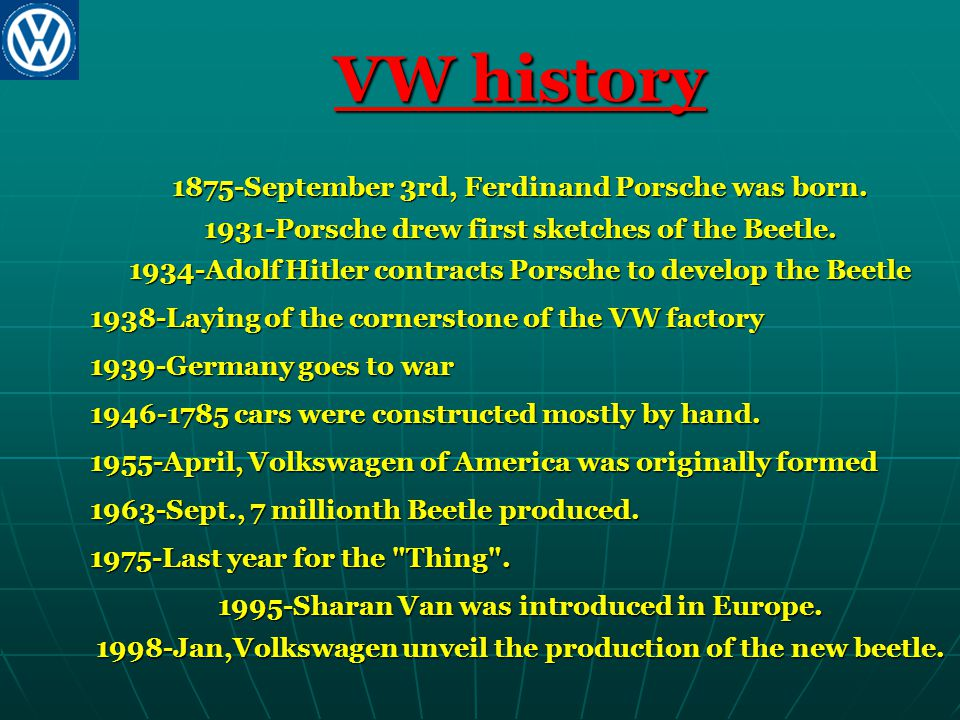 VW history 1875-September 3rd, Ferdinand Porsche was born. 1931-Porsche drew first sketches of the Beetle. 1934-Adolf Hitler contracts Porsche to deve
