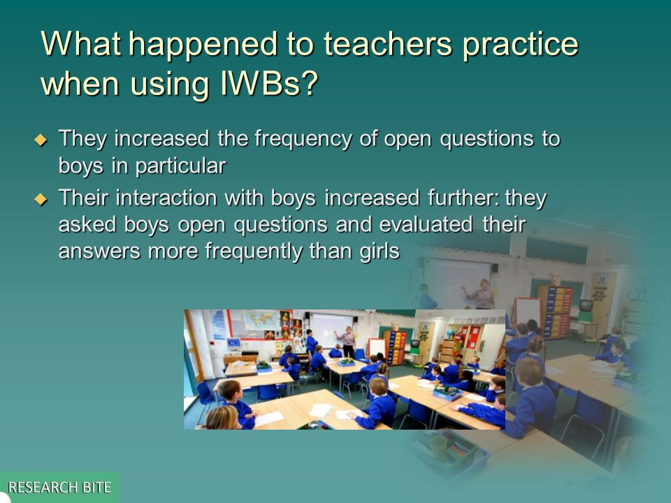 What happened to teachers practice when using IWBs.