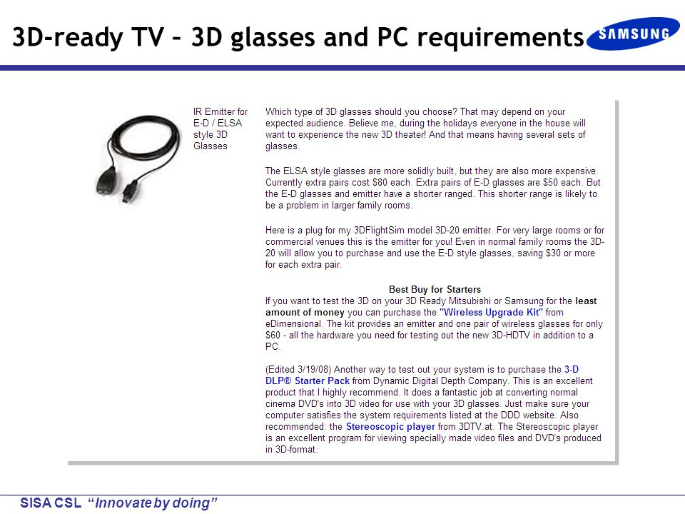 SISA CSL Innovate by doing 3D-ready TV – 3D glasses and PC requirements