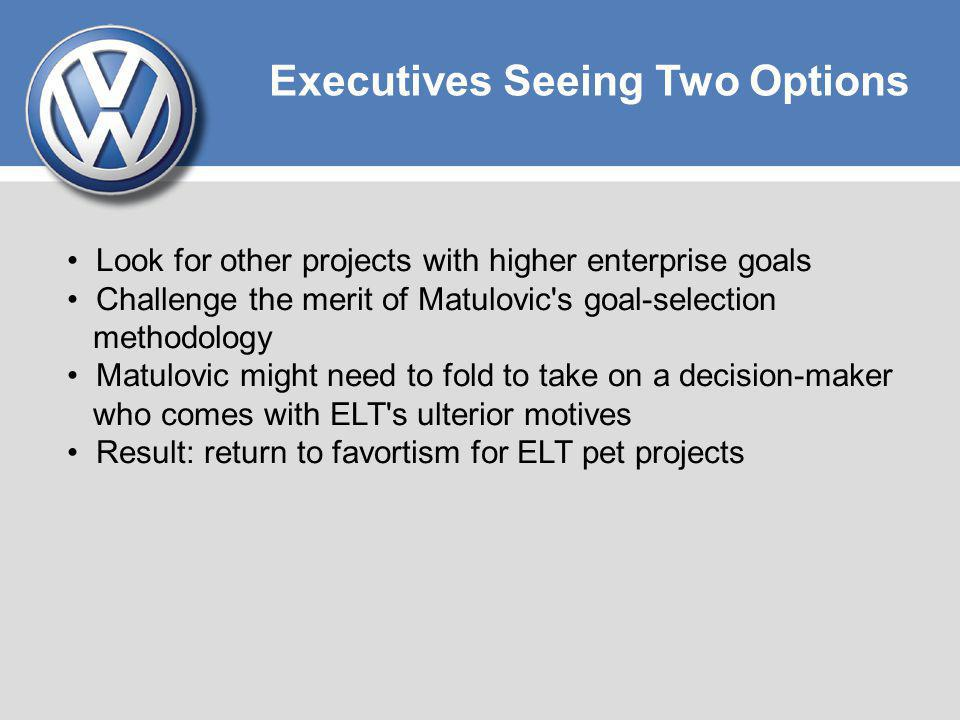 Executives Seeing Two Options Look for other projects with higher enterprise goals Challenge the merit of Matulovic's goal-selection methodology Matul