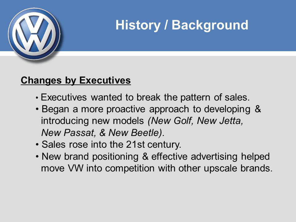 History / Background Early 2000s Senior Executives began to broaden their view of the traditional VW Group portfolio of vehicles.