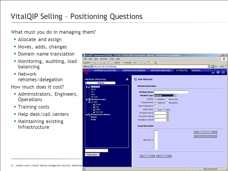 All Rights Reserved © Alcatel-Lucent 51 | Alcatel-Lucent VitalQIP Address Management Solutions, September 2009 VitalQIP Selling – Positioning Question