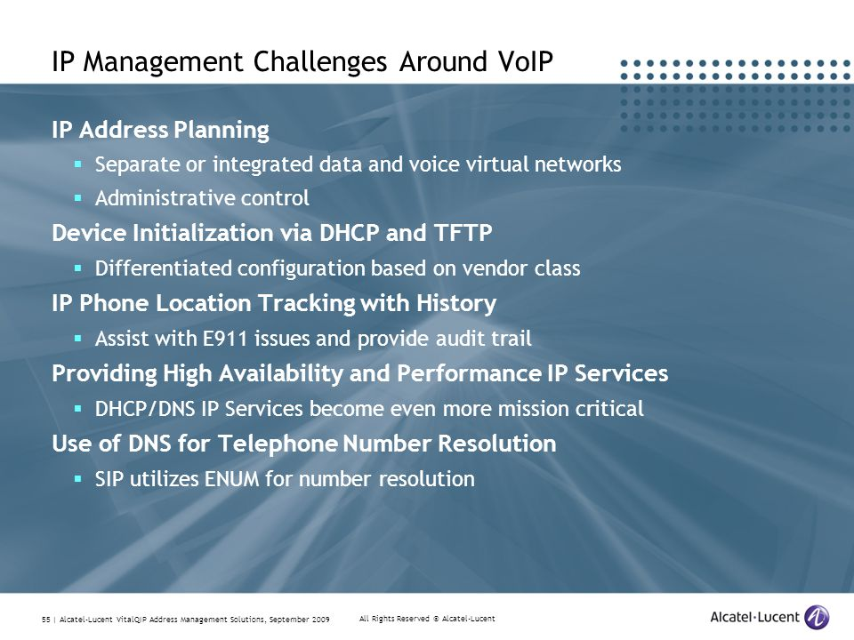 All Rights Reserved © Alcatel-Lucent 55 | Alcatel-Lucent VitalQIP Address Management Solutions, September 2009 IP Management Challenges Around VoIP IP