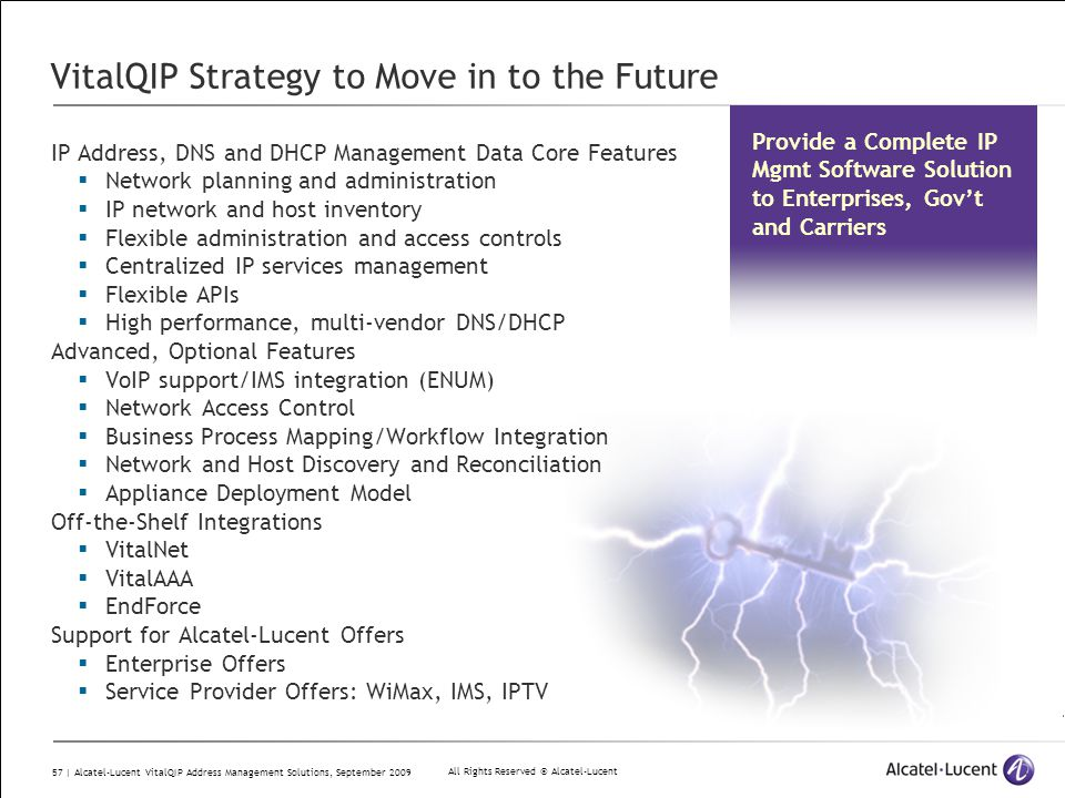 All Rights Reserved © Alcatel-Lucent 57 | Alcatel-Lucent VitalQIP Address Management Solutions, September 2009 VitalQIP Strategy to Move in to the Fut