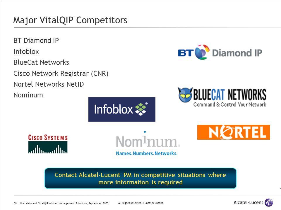 All Rights Reserved © Alcatel-Lucent 60 | Alcatel-Lucent VitalQIP Address Management Solutions, September 2009 Major VitalQIP Competitors BT Diamond I