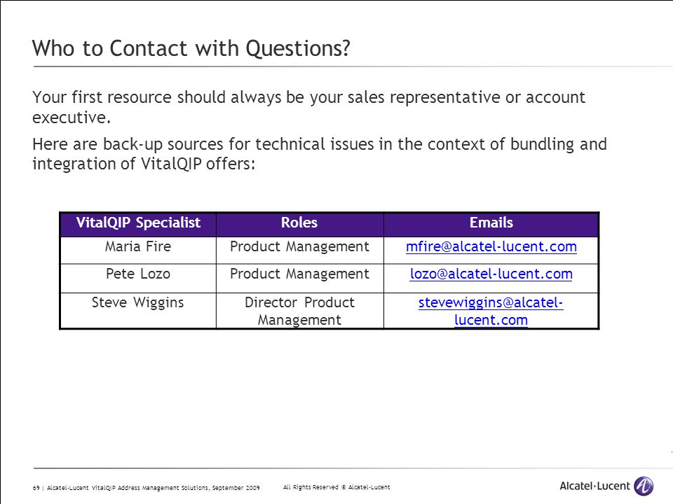 All Rights Reserved © Alcatel-Lucent 69 | Alcatel-Lucent VitalQIP Address Management Solutions, September 2009 Who to Contact with Questions? Your fir