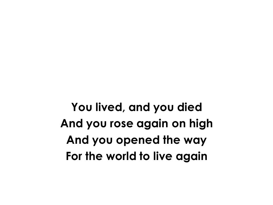 You lived, and you died And you rose again on high And you opened the way For the world to live again