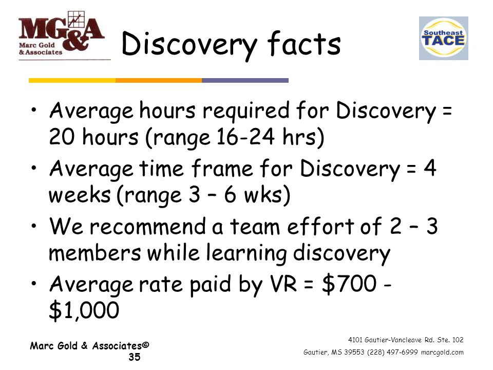 4101 Gautier-Vancleave Rd. Ste. 102 Gautier, MS 39553 (228) 497-6999 marcgold.com Marc Gold & Associates© 35 Discovery facts Average hours required fo