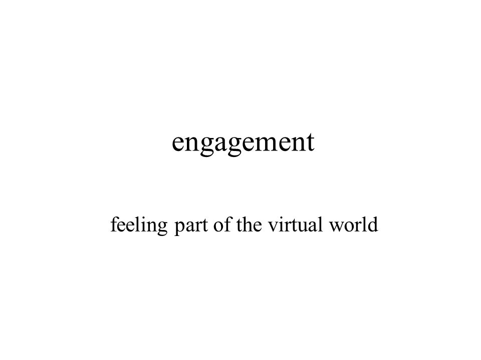 engagement feeling part of the virtual world