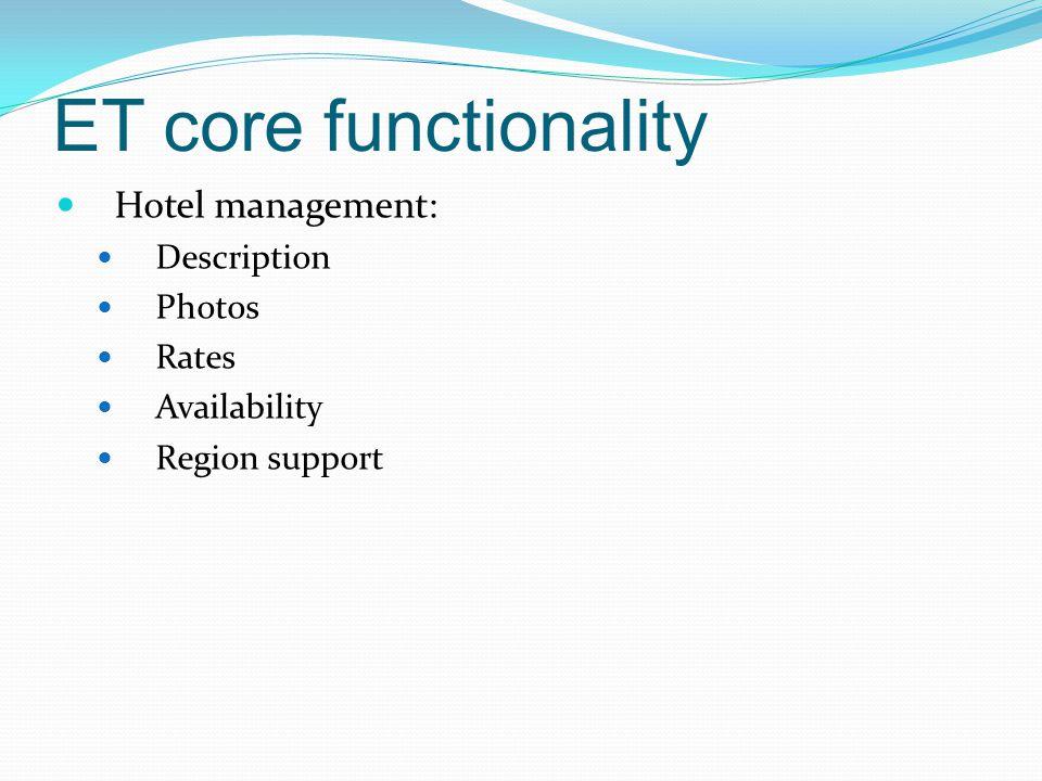 ET core functionality Hotel management: Description Photos Rates Availability Region support