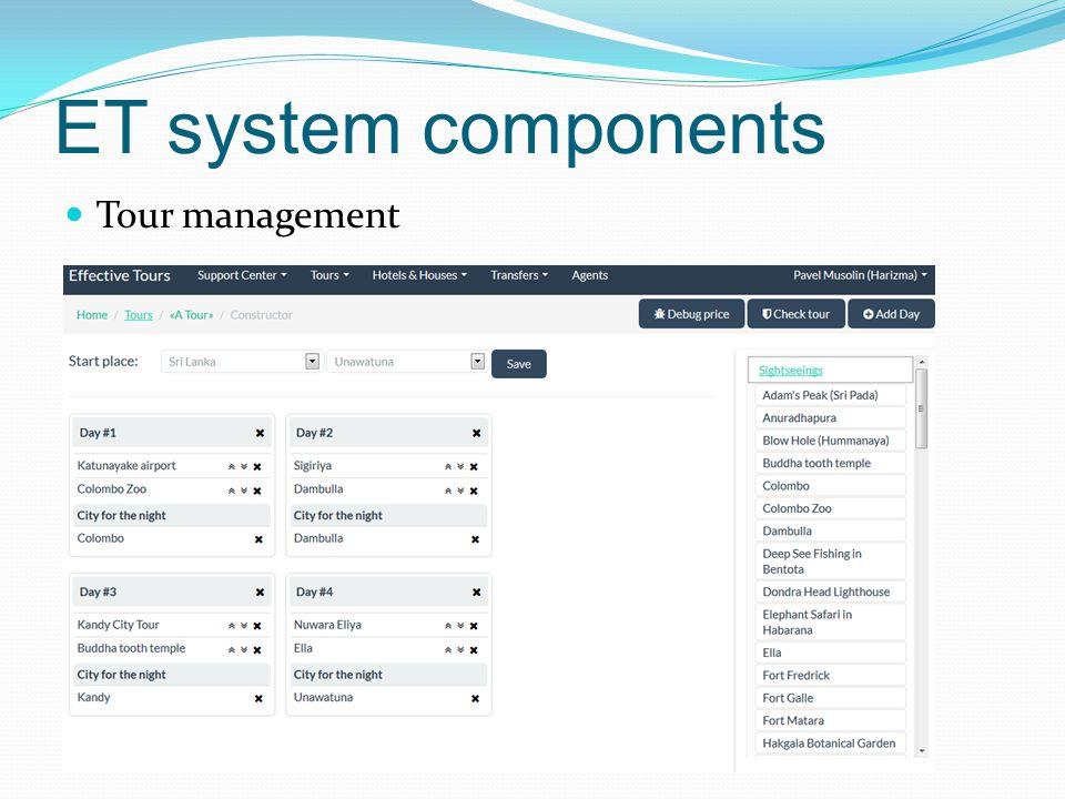 ET system components Tour management