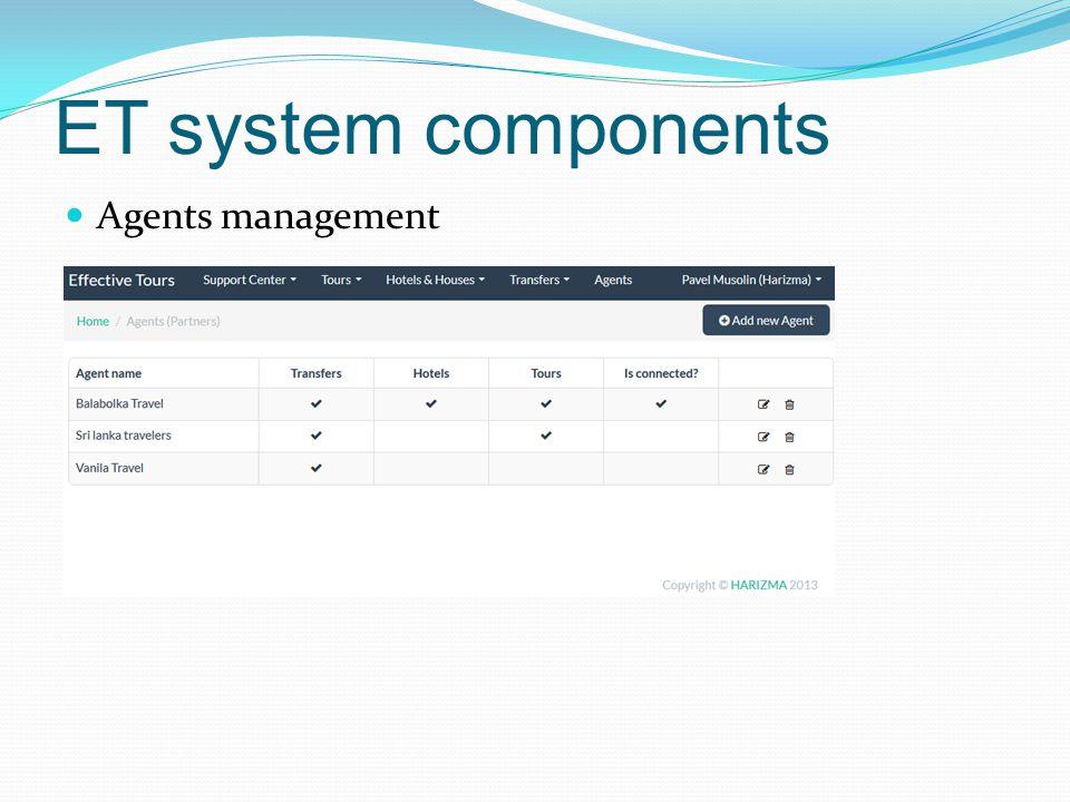 ET system components Agents management