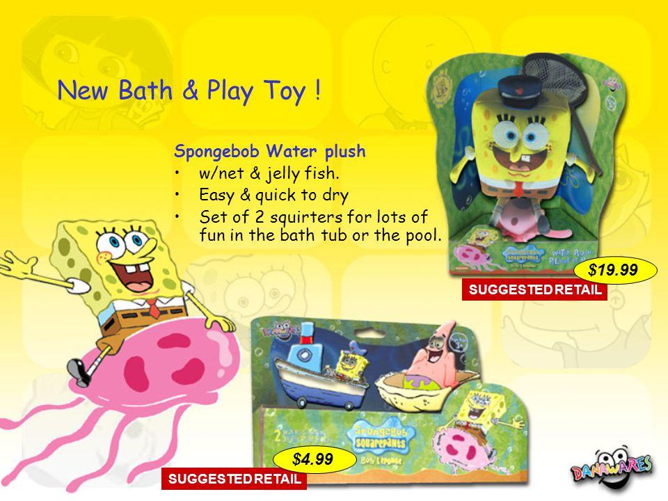 New Bath & Play Toy . Spongebob Water plush w/net & jelly fish.