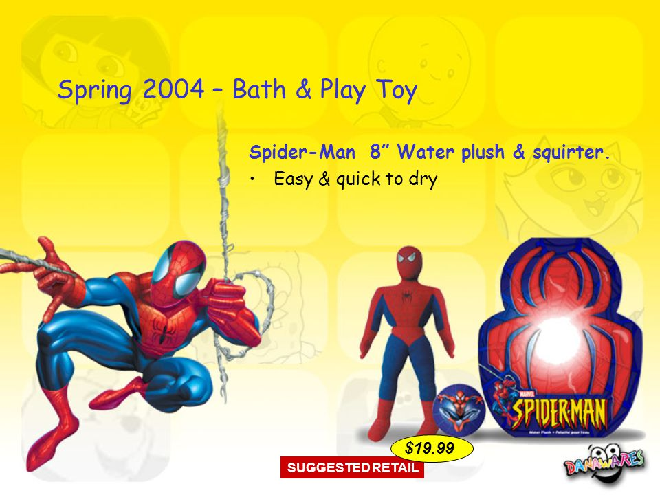 Spring 2004 – Bath & Play Toy Spider-Man 8 Water plush & squirter.