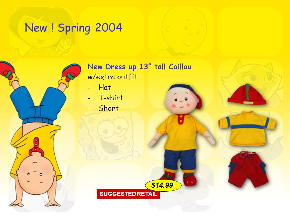 New Dress up 13 tall Caillou w/extra outfit -Hat -T-shirt -Short SUGGESTED RETAIL $14.99 New .