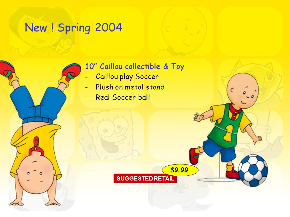 10 Caillou collectible & Toy -Caillou play Soccer -Plush on metal stand -Real Soccer ball SUGGESTED RETAIL $9.99 New .