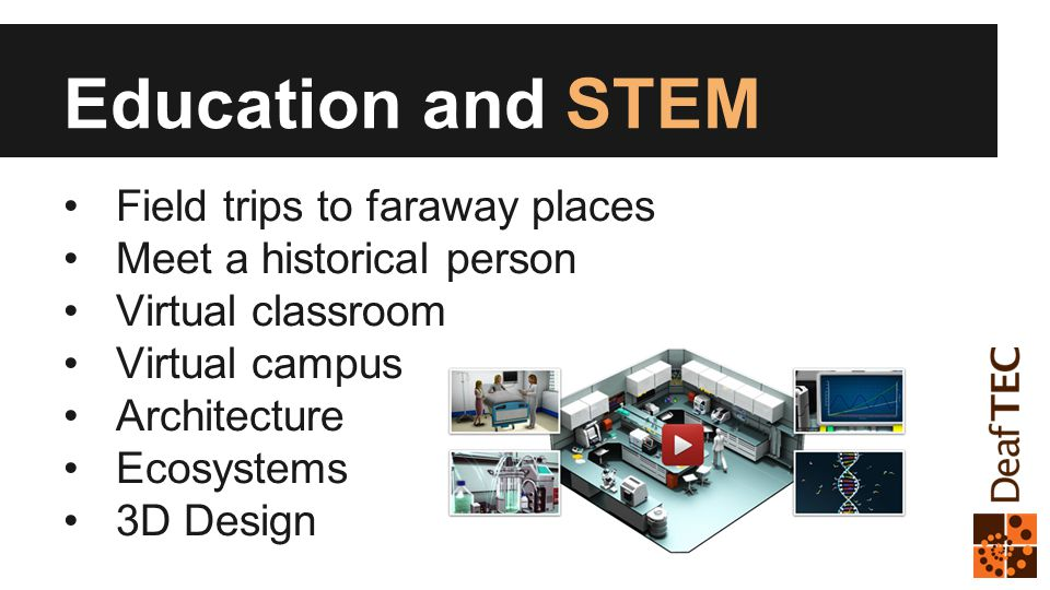 Education and STEM Field trips to faraway places Meet a historical person Virtual classroom Virtual campus Architecture Ecosystems 3D Design