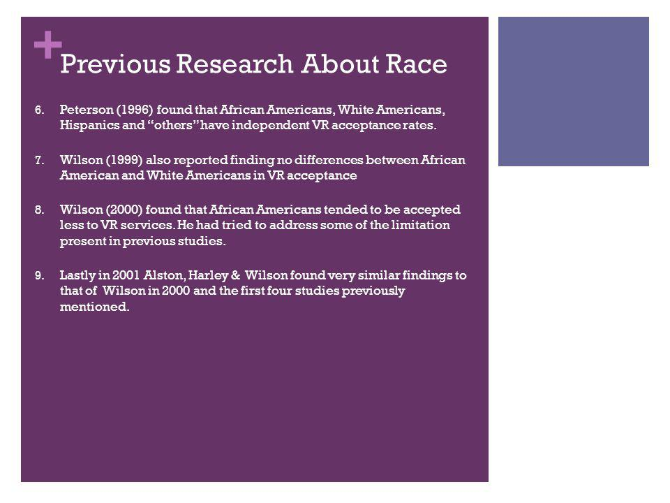 """+ Previous Research About Race 6. Peterson (1996) found that African Americans, White Americans, Hispanics and """"others"""" have independent VR acceptance"""