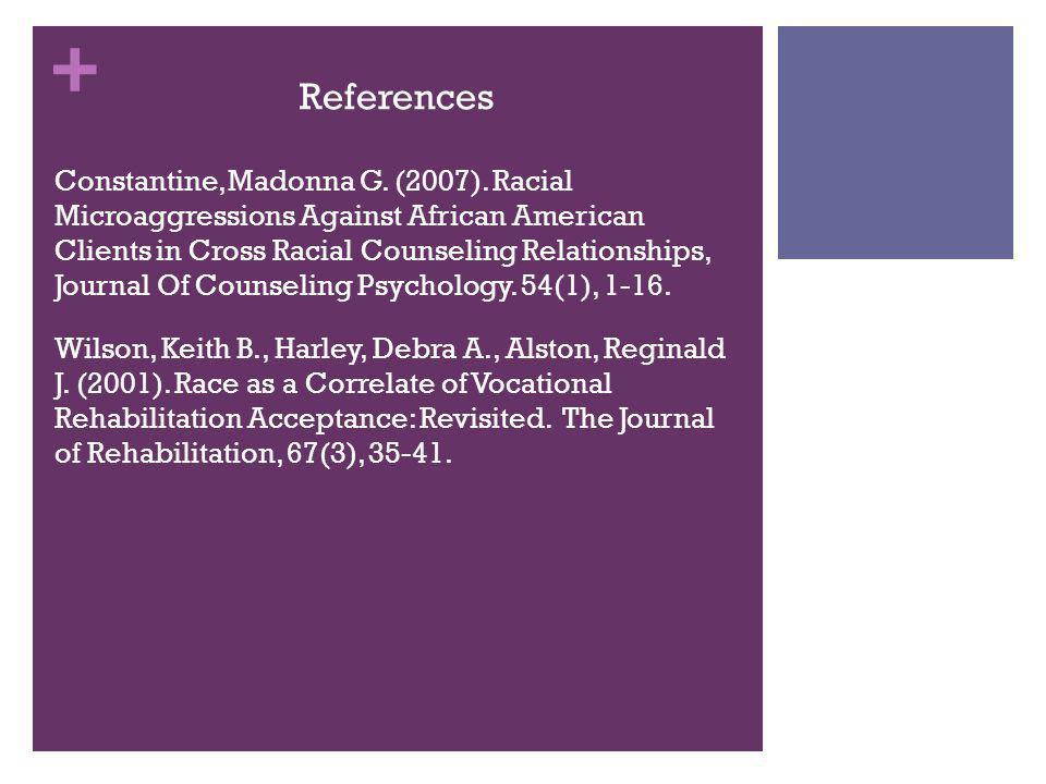 + References Constantine, Madonna G.(2007).