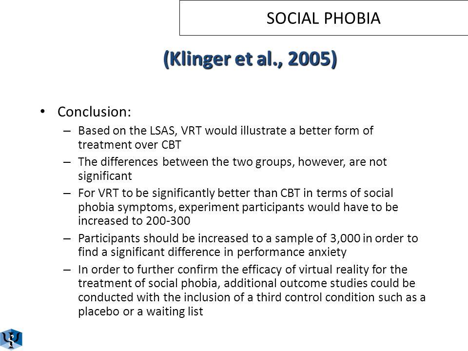 SOCIAL PHOBIA (Klinger et al., 2005)