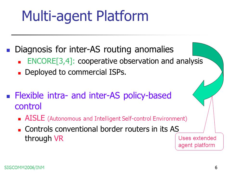 SIGCOMM2006/INM6 Multi-agent Platform Diagnosis for inter-AS routing anomalies ENCORE[3,4]: cooperative observation and analysis Deployed to commercial ISPs.