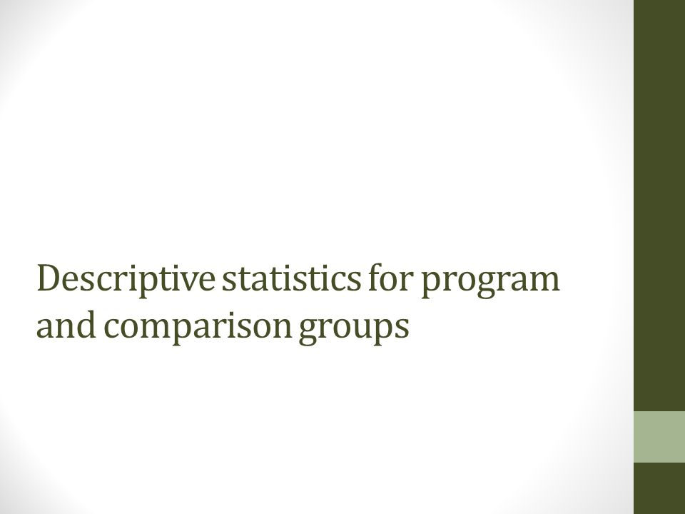 Descriptive statistics for program and comparison groups