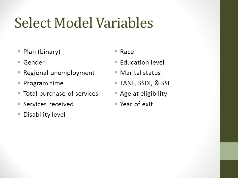 Select Model Variables  Plan (binary)  Gender  Regional unemployment  Program time  Total purchase of services  Services received  Disability l