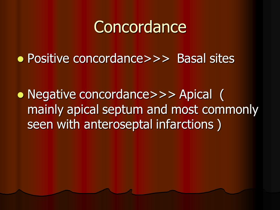 Concordance Positive concordance>>> Basal sites Positive concordance>>> Basal sites Negative concordance>>> Apical ( mainly apical septum and most com