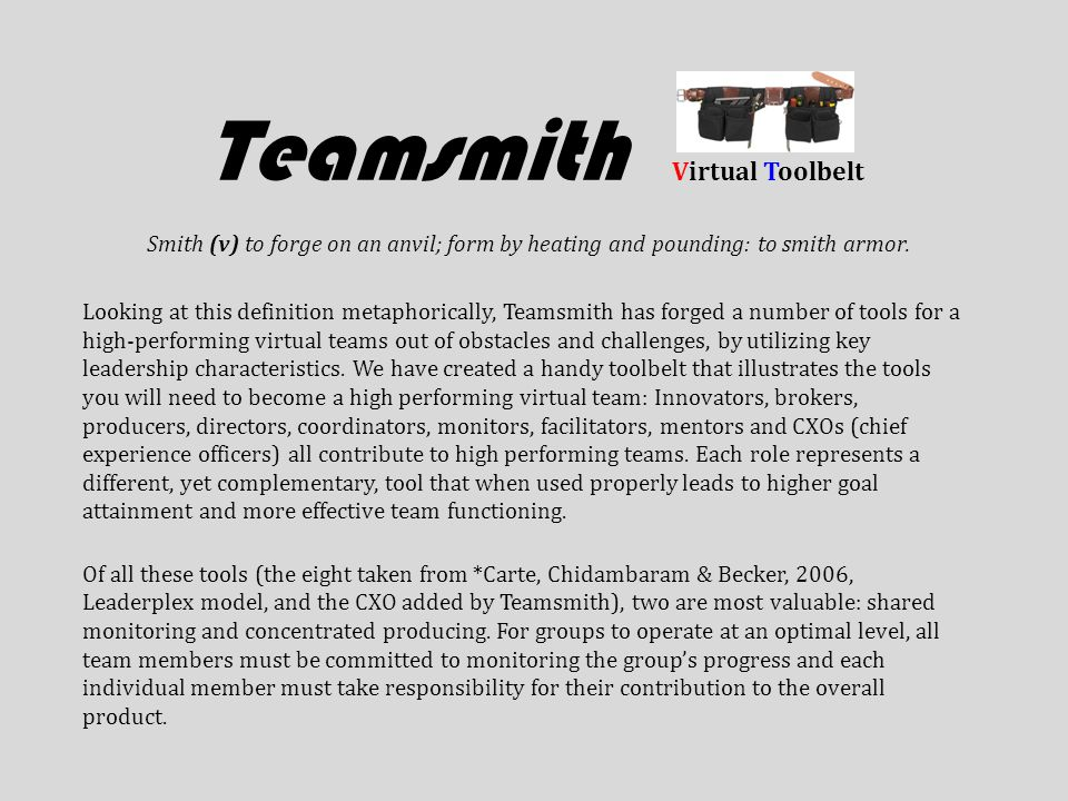Teamsmith Virtual Toolbelt Smith (v) to forge on an anvil; form by heating and pounding: to smith armor.