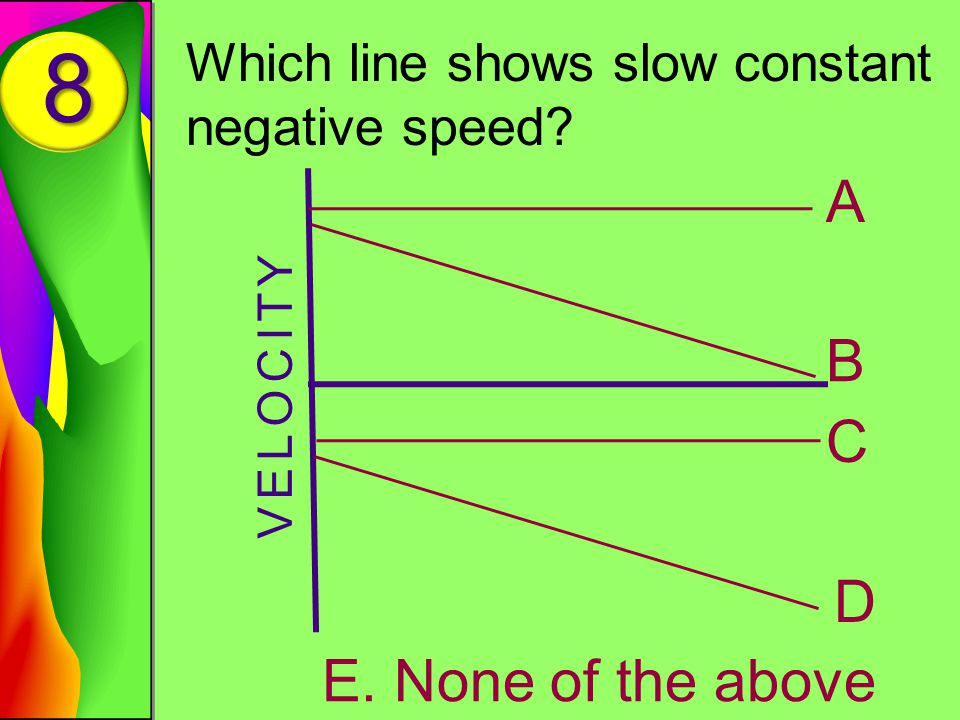 8 Which line shows slow constant negative speed VELOCITY A B C D E. None of the above