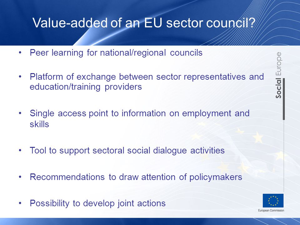 Peer learning for national/regional councils Platform of exchange between sector representatives and education/training providers Single access point to information on employment and skills Tool to support sectoral social dialogue activities Recommendations to draw attention of policymakers Possibility to develop joint actions Value-added of an EU sector council
