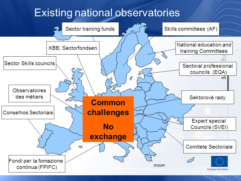 Directorate-General for Employment, Social Affairs and Equal Opportunities Existing national observatories Sector Skills councils Observatoires des métiers Comitete Sectoriale Fondi per la fomazione continua (FPIFC) Skills committees (AF) Conselhos Sectoriais National education and training Committees Sectoral professional councils (EQA) Sector training funds Sektorové rady Expert special Councils (SVEI) KBB, Sectorfondsen Common challenges No exchange