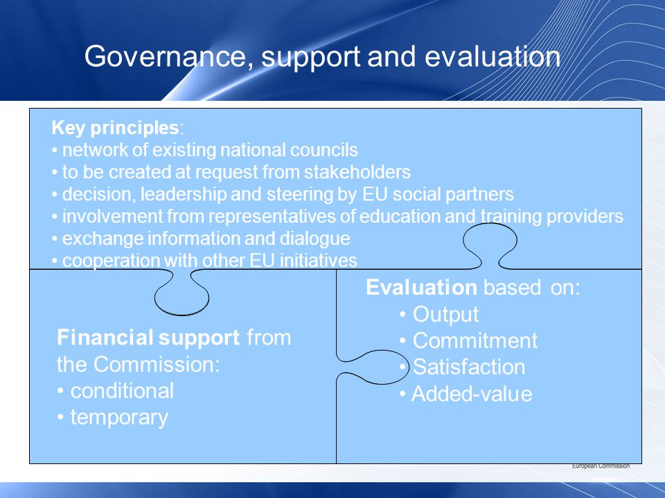 Key principles: network of existing national councils to be created at request from stakeholders decision, leadership and steering by EU social partners involvement from representatives of education and training providers exchange information and dialogue cooperation with other EU initiatives Financial support from the Commission: conditional temporary Evaluation based on: Output Commitment Satisfaction Added-value Governance, support and evaluation
