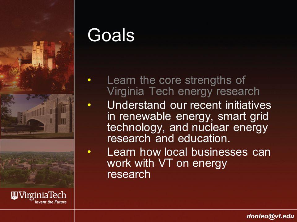 College of Engineering Donald J. Leo, donleo@vt.edu donleo@vt.edu Goals Learn the core strengths of Virginia Tech energy research Understand our recen