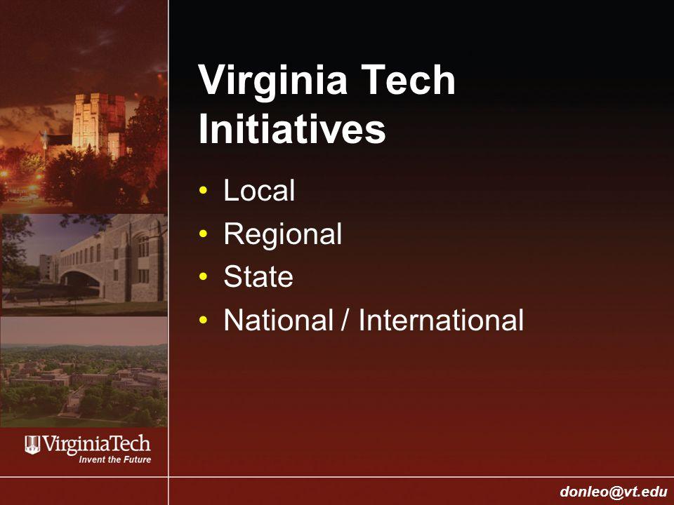 College of Engineering Donald J. Leo, donleo@vt.edu donleo@vt.edu Virginia Tech Initiatives Local Regional State National / International