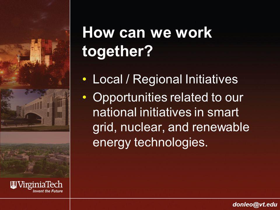 College of Engineering Donald J.Leo, donleo@vt.edu donleo@vt.edu How can we work together.