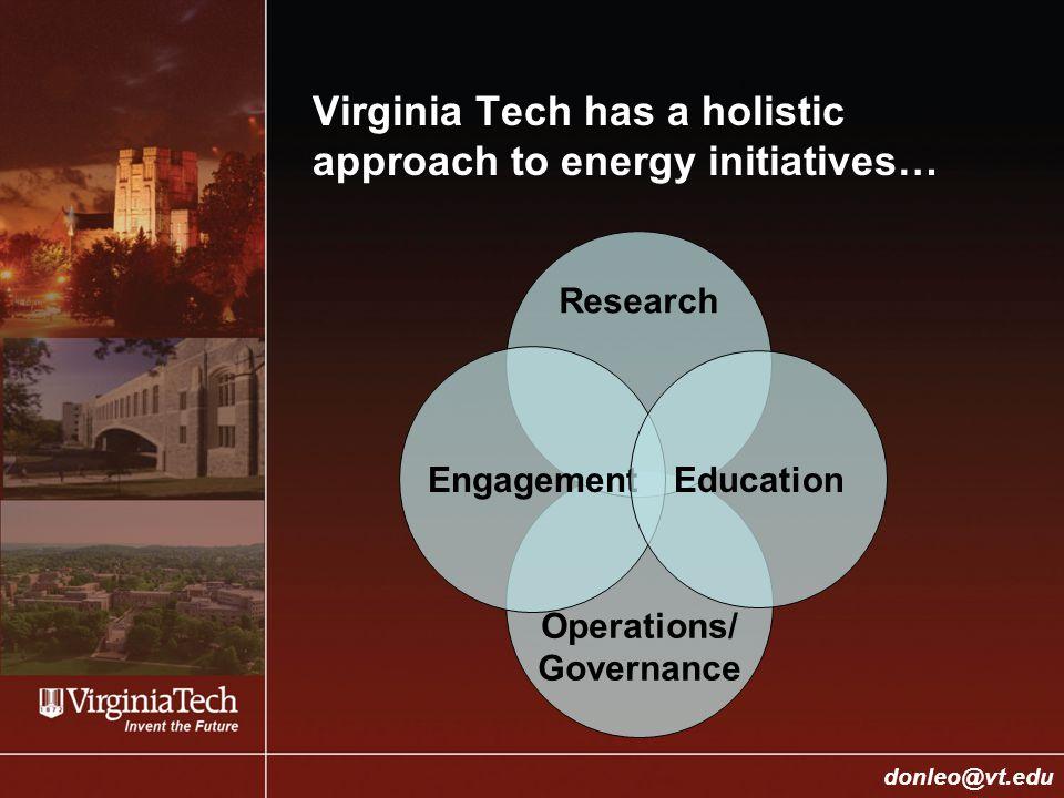 College of Engineering Donald J. Leo, donleo@vt.edu donleo@vt.edu Operations/ Governance Virginia Tech has a holistic approach to energy initiatives…