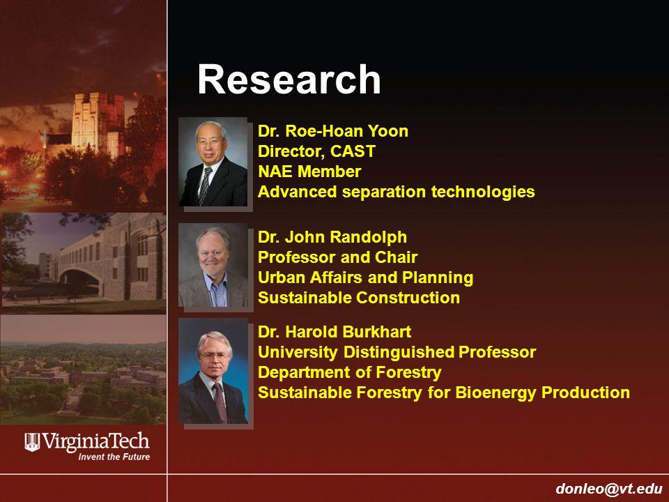 College of Engineering Donald J.Leo, donleo@vt.edu donleo@vt.edu Research Dr.