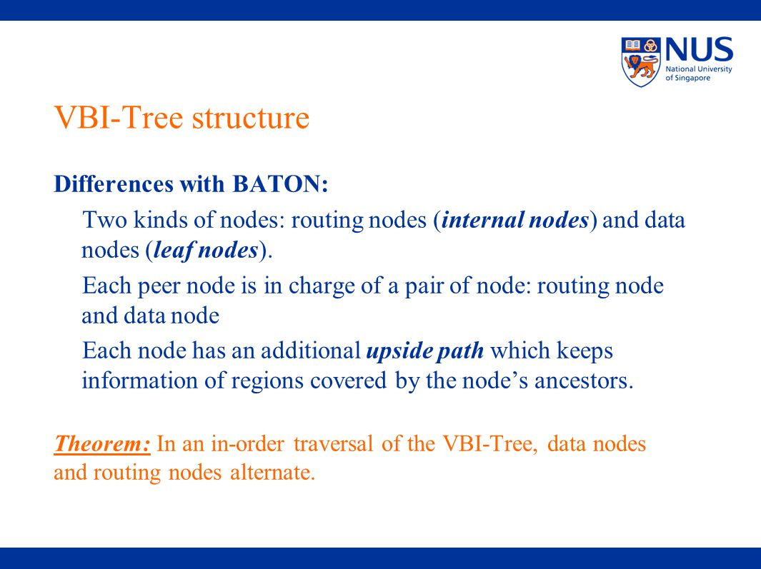 VBI-Tree structure Differences with BATON: Two kinds of nodes: routing nodes (internal nodes) and data nodes (leaf nodes).