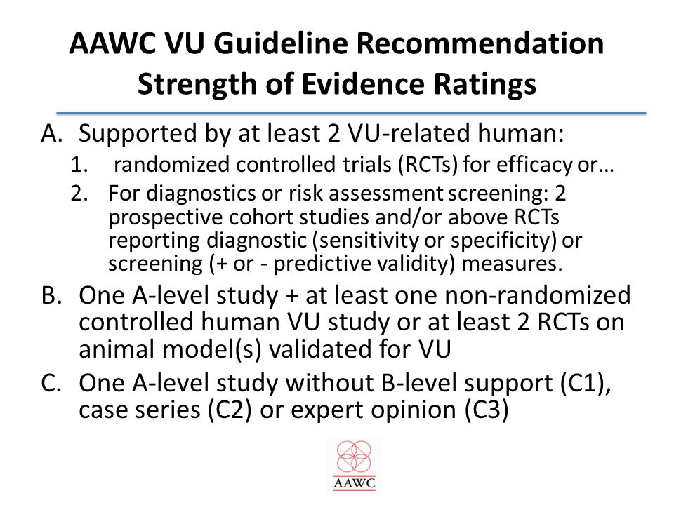 Overview of AAWC VU Guideline: Who does What to Whom by When.