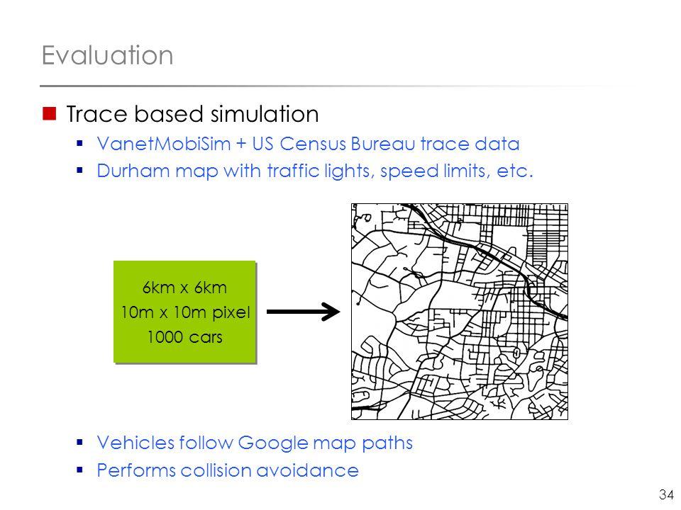 34 Evaluation Trace based simulation  VanetMobiSim + US Census Bureau trace data  Durham map with traffic lights, speed limits, etc.