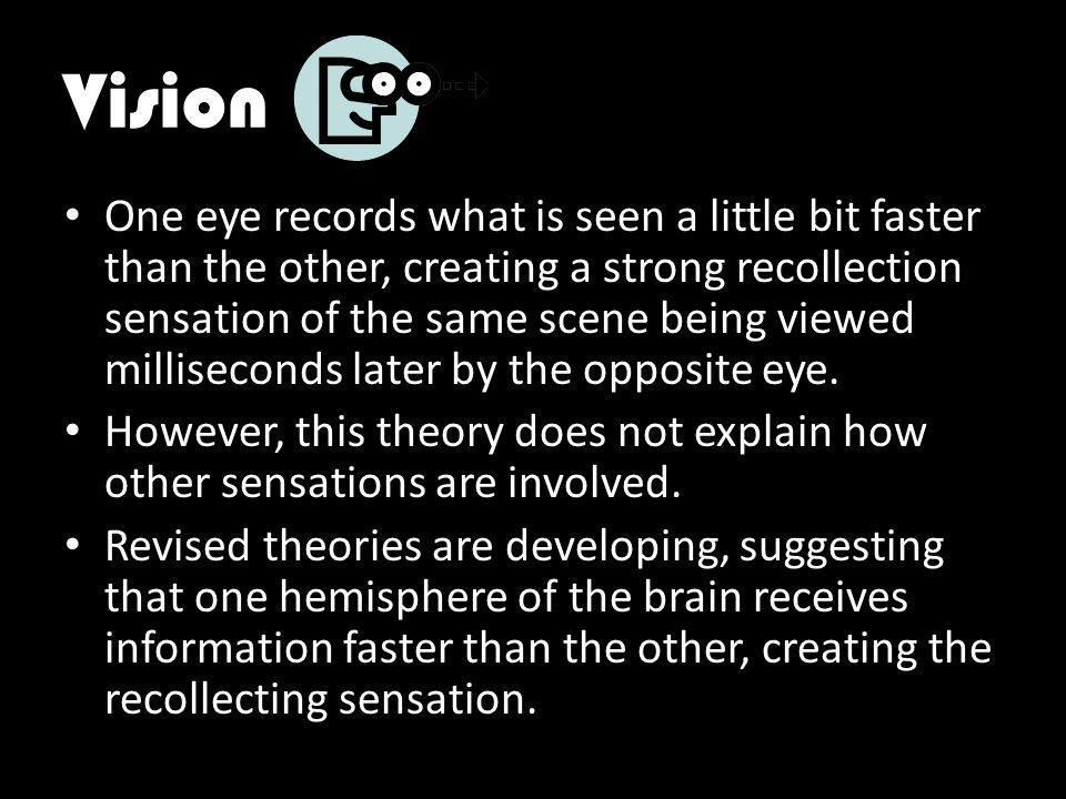 Vision One eye records what is seen a little bit faster than the other, creating a strong recollection sensation of the same scene being viewed milliseconds later by the opposite eye.