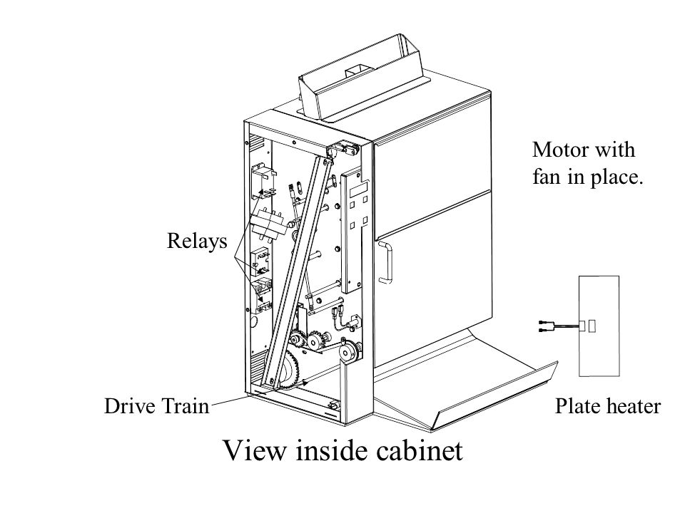 View inside cabinet Relays Drive Train Motor with fan in place. Plate heater