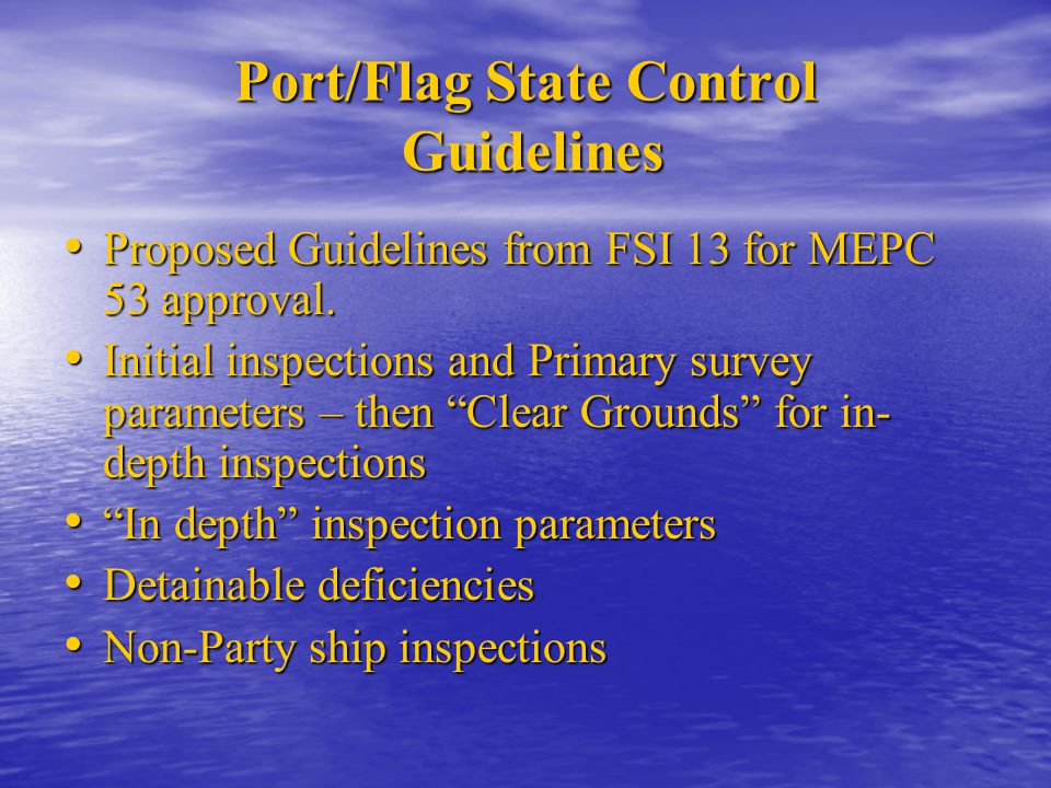 Port/Flag State Control Guidelines Proposed Guidelines from FSI 13 for MEPC 53 approval. Proposed Guidelines from FSI 13 for MEPC 53 approval. Initial