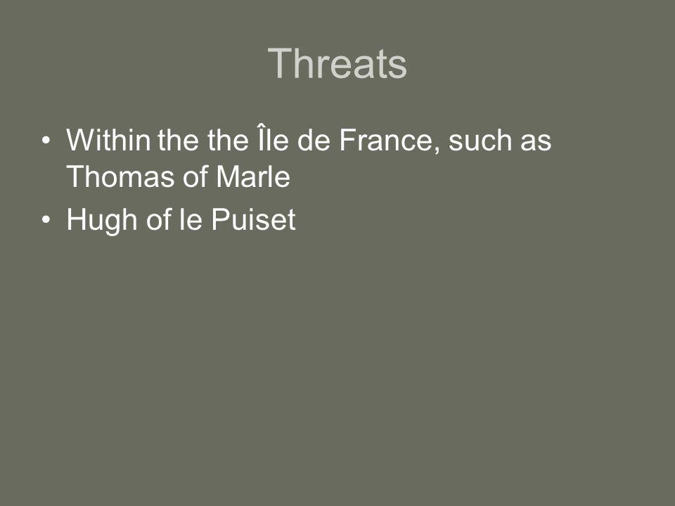 Threats Within the the Île de France, such as Thomas of Marle Hugh of le Puiset