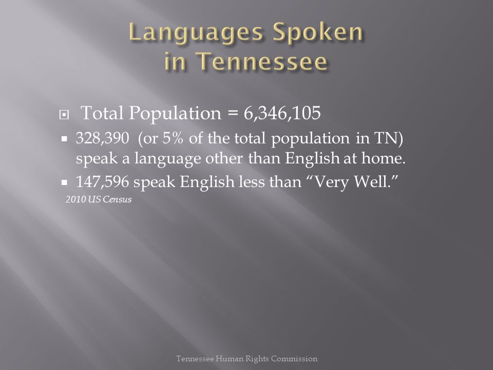  Total Population = 6,346,105  328,390 (or 5% of the total population in TN) speak a language other than English at home.